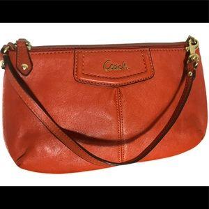 COACH Large Leather Orange Wristlet